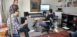 Inspelning i Waterfront studio. Daniel, Svante och Wojtek.